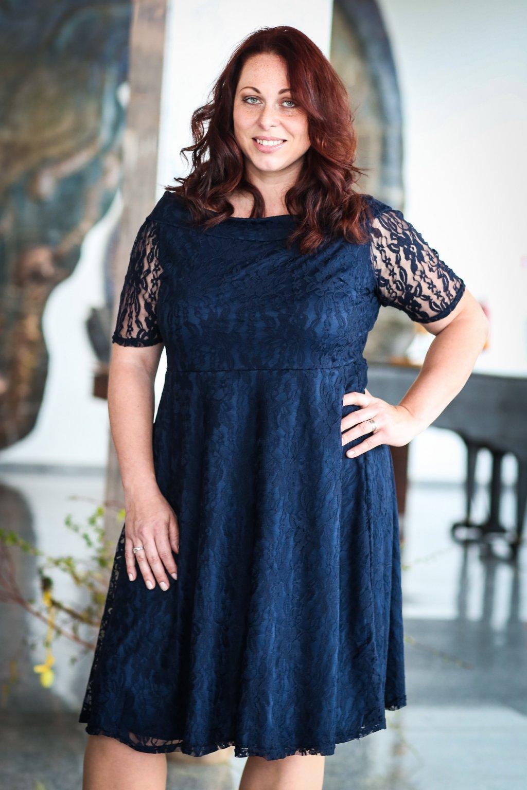 Krajkové šaty Cos s rukávkem tmavě modré 6