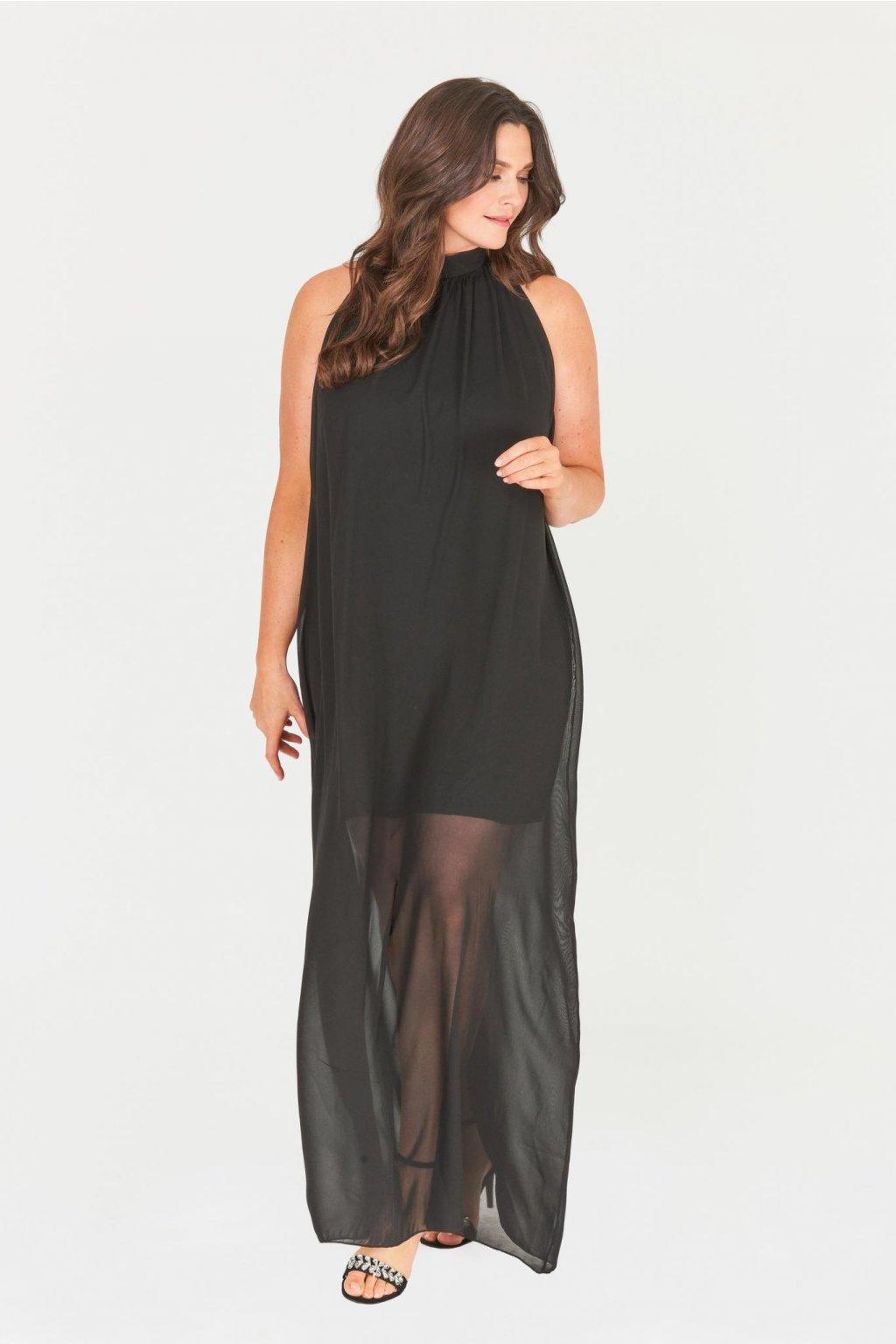 Dlouhé černé šaty Saydee s průhlednou sukní 1