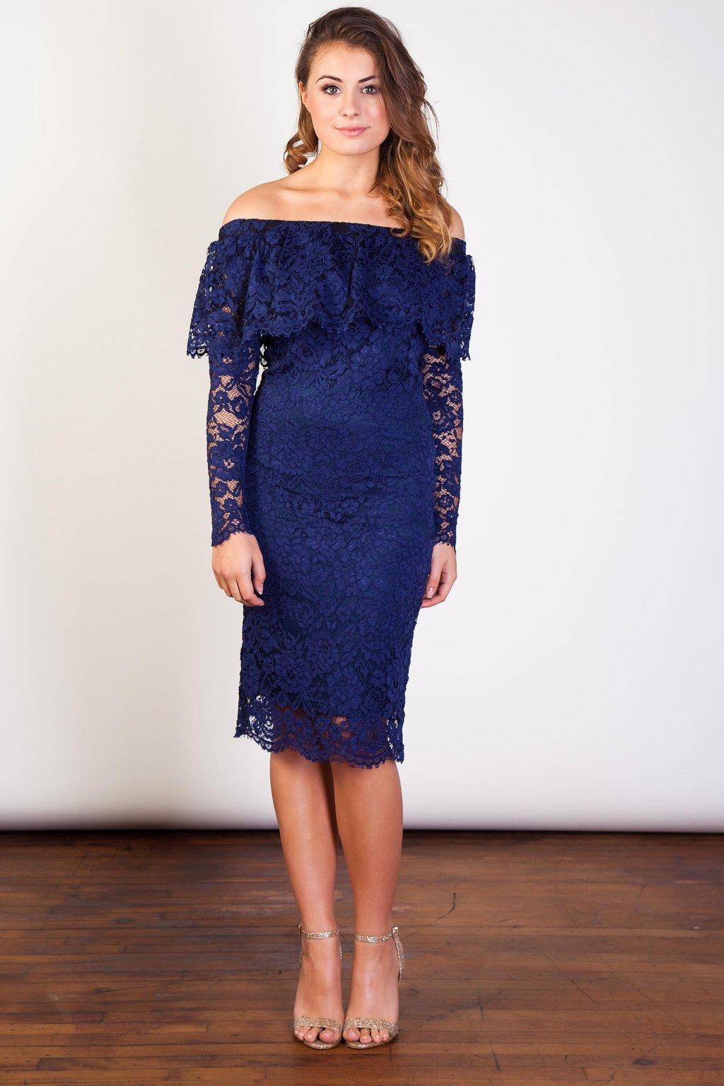 ... Krajkové šaty Earned s volánovým výstřihem modré 2 ... 463300b631