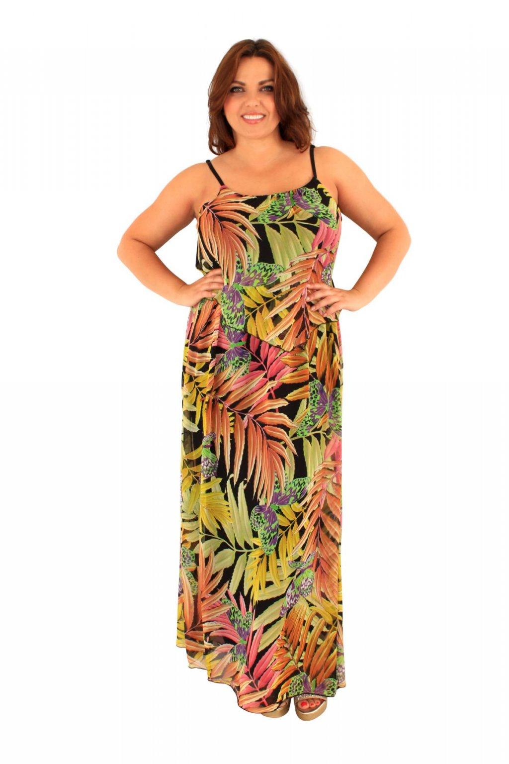 Dlouhé šaty Hilarie s tropickým vzorem 1