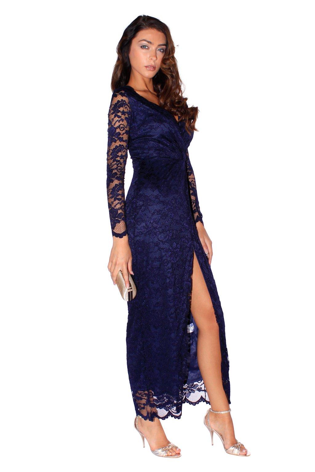 bb57de27ee5 ... Dlouhé šaty Luxuriously s vysokým rozparkem modré 2 ...