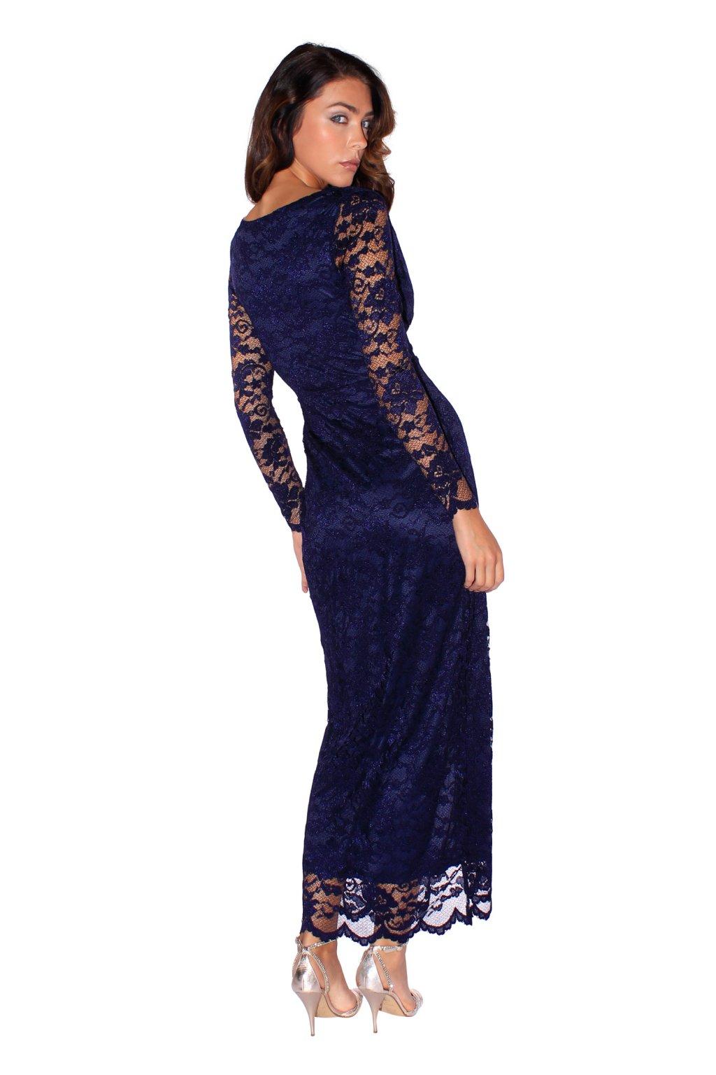 a12fe310eb0 ... Dlouhé šaty Luxuriously s vysokým rozparkem modré 3 ...