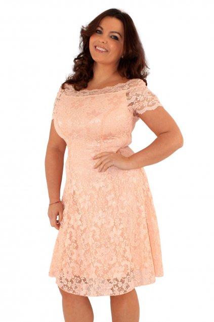 Krajkové šaty Fancy s odhaleným dekoltem meruňkové 2
