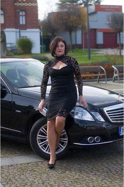 Krajkové šaty Flame pouzdrového střihu s límečkem černé 5