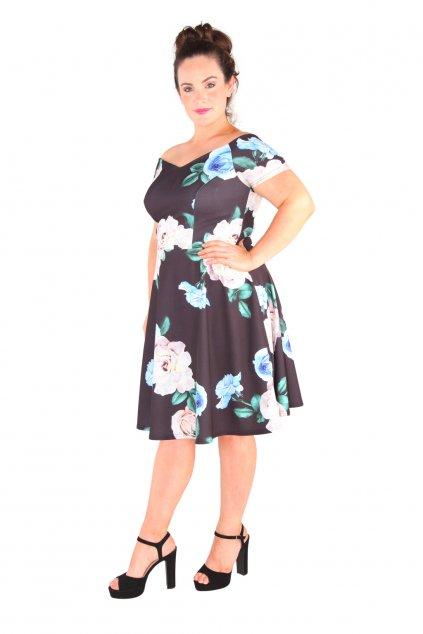 Černé květinové šaty Honey s rozšířenou sukní 2