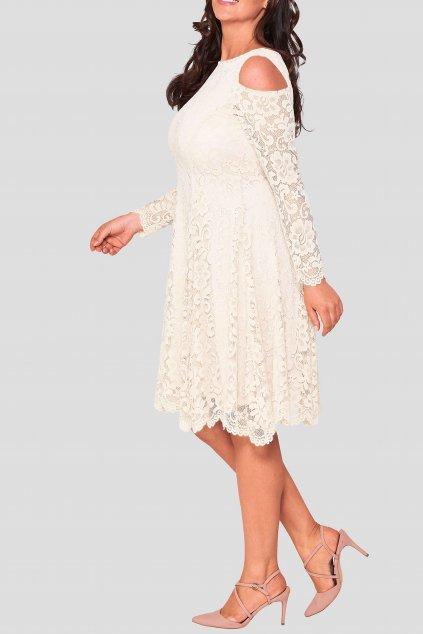 Krajkové šaty Pearl s odhalenými rameny smetanové 5