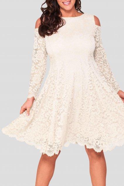 Krajkové šaty Pearl s odhalenými rameny smetanové 8