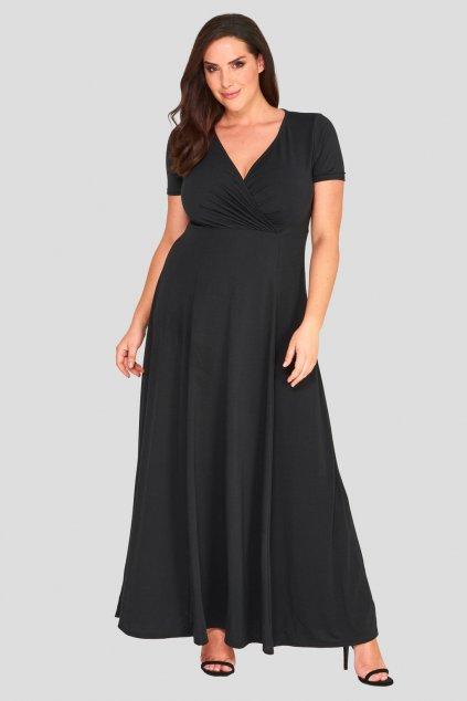 Dlouhé šaty Goa s hlubokým výstřihem černé 2