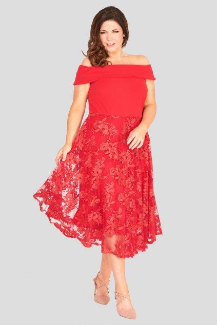 Romantické šaty Lavish s krajkovou sukní červené 1