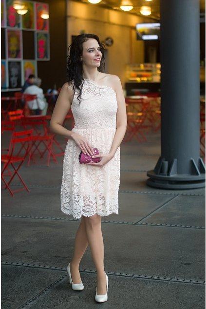 Krajkové šaty Rare s jedním ramínkem béžové 5