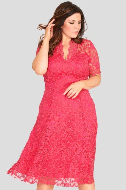 Krajkové šaty Mitcham s výstřihem růžové 1