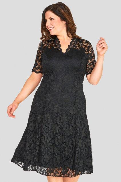 Krajkové šaty Mitcham s výstřihem černé 1