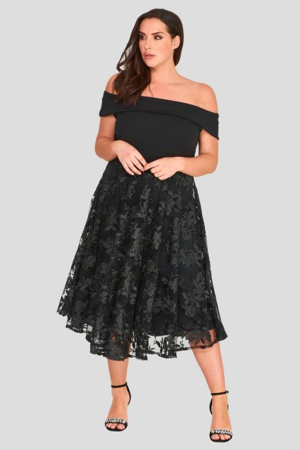Romantické šaty Lavish s krajkovou sukní černé 2
