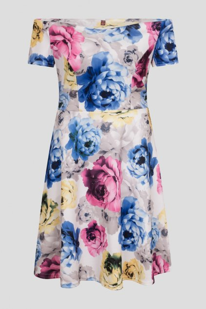 Bílé květinové šaty Honey Flora s rozšířenou sukní 1