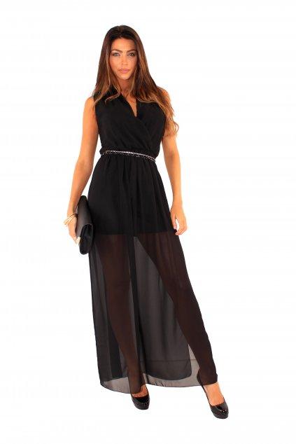 Dlouhé šaty Spotlight s průsvitnou sukní Spotlight černé 1