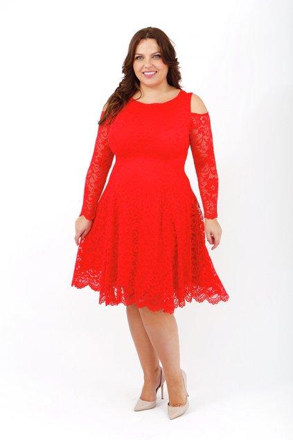 Krajkové šaty Pearl s odhalenými rameny červené 1