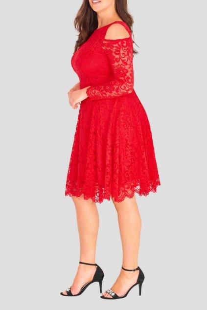 Krajkové šaty Pearl s odhalenými rameny červené 5