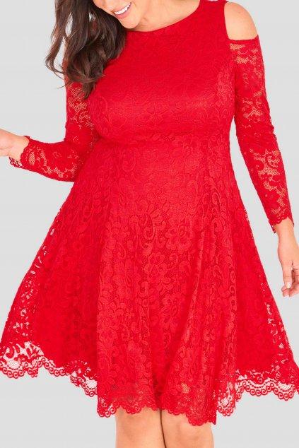 Krajkové šaty Pearl s odahlenými rameny červené 9