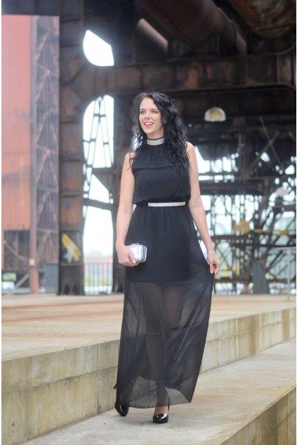 Dlouhé šaty Ashlie s průsvitnou sukní černé 8