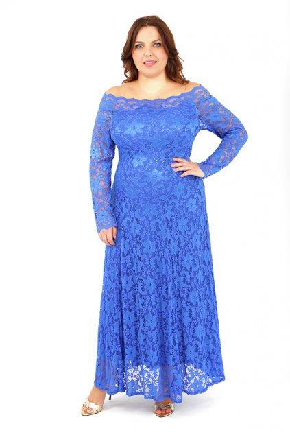 Dlouhé krajkové šaty Nuri s průsvitnými rukávy modré 3
