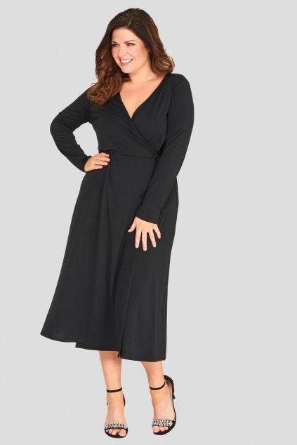 Krásné šaty Thought áčkového střihu černé 3