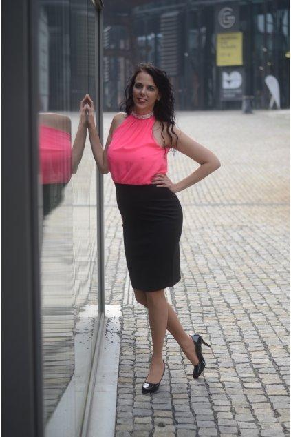 Úpletové šaty Lady Luck černo růžové 5