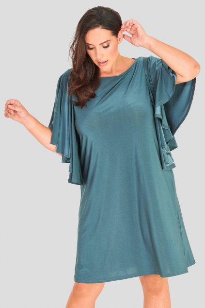 Dámské šaty Lincoln s řasenými netopýřími rukávy zelené 1