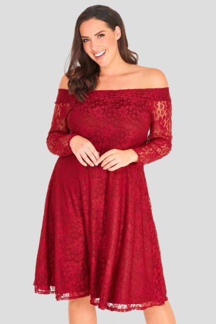 Krajkové šaty Cosham s rukávem vínové 1