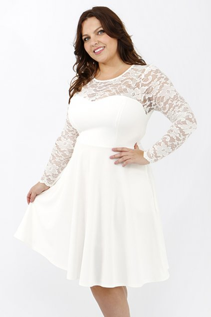 Krajkové šaty Katrus s hladkou sukní smetanové 1