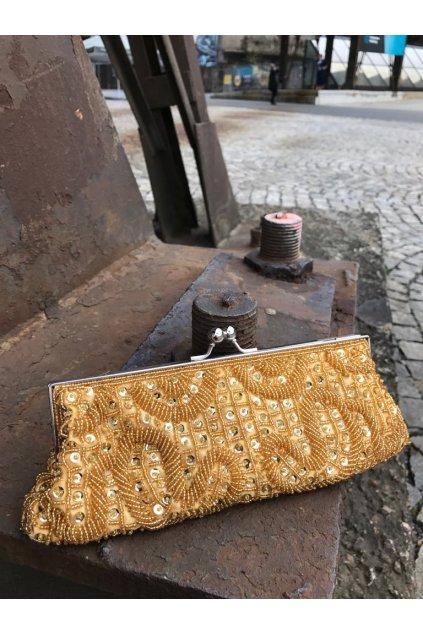Zlatá perličková kabelka BD 1