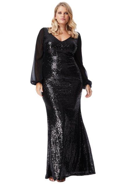 Dlouhé plesové šaty Sofi s flitry černé 1