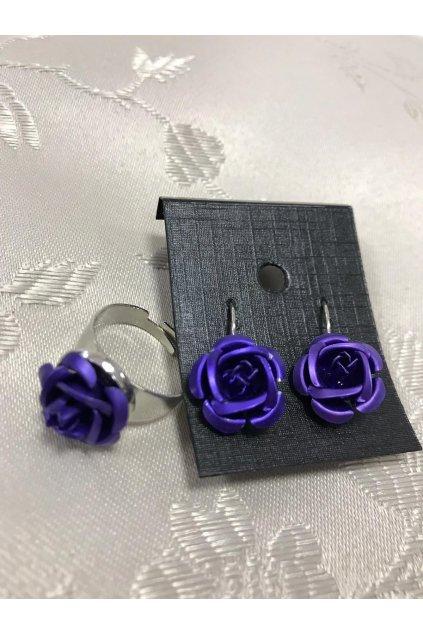 Náušnice a prsten ve tvaru růže tmavě modré 1