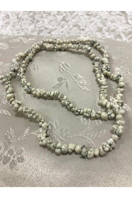 Dlouhé korále BD z bílých kamenů 2