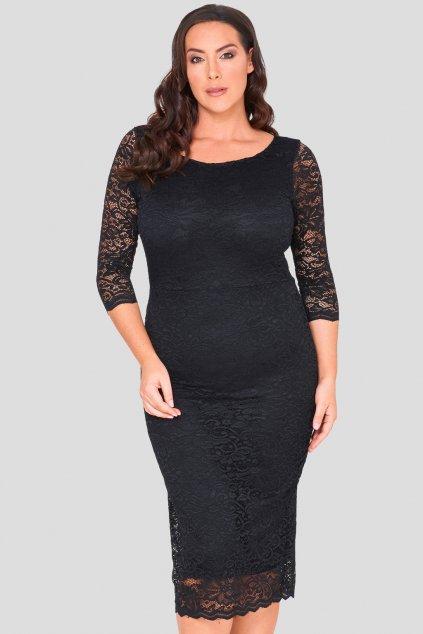 Krajkové šaty After Dark pouzdrového střihu černé 1