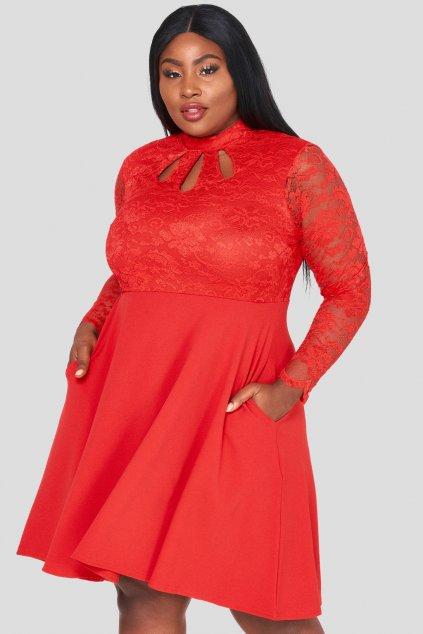 Krajkové šaty Ripley s hladkou sukní červené 1