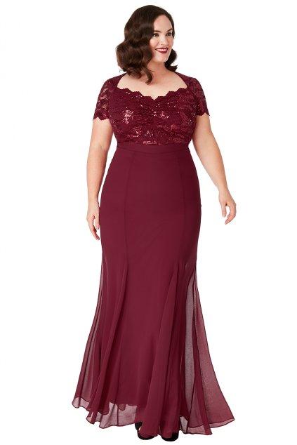 Dlouhé plesové šaty Dakota vínové 1