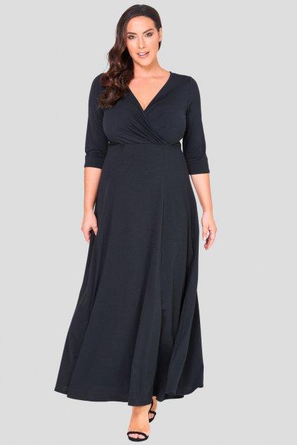 Dlouhé šaty Peak s hlubokým výstřihem černé 2