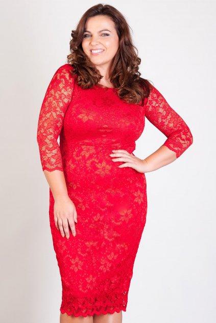 Krajkové šaty Adlib pouzdrového střihu červené 2