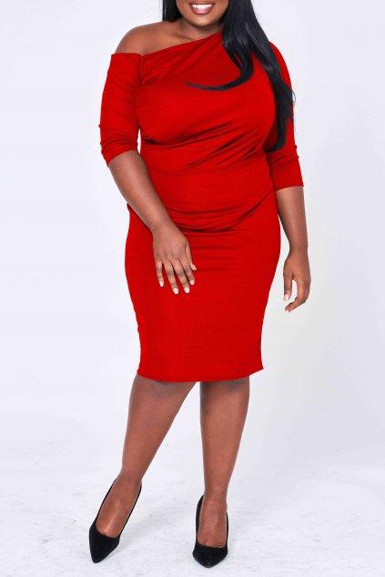 Krásné šaty Exile s odhaleným ramínkem červené 4