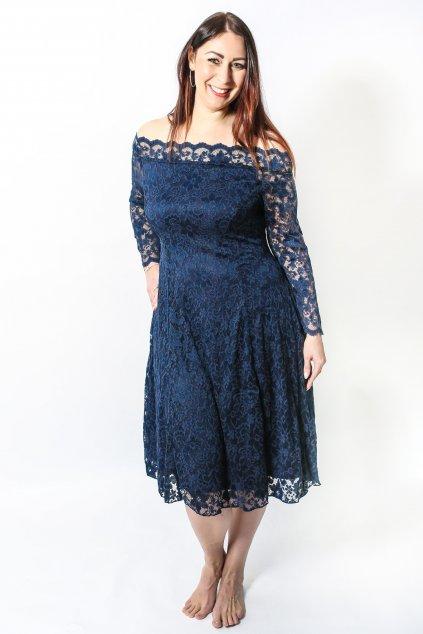 Krajkové šaty Elevate s rukávem tmavě modré 5