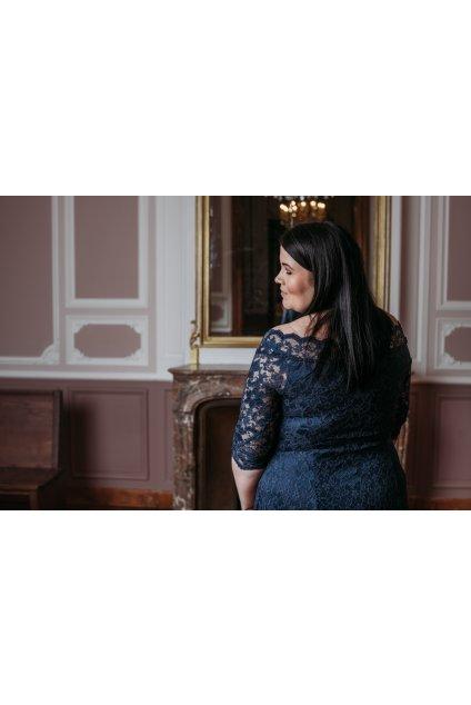 Krajkové šaty Elevate s rukávem tmavě modré 7