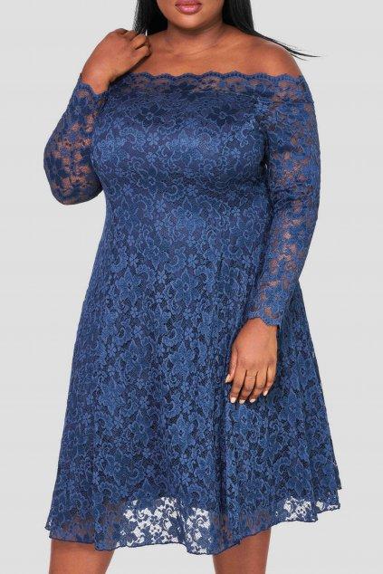 Krajkové šaty Elevate s rukávem tmavě modré 1