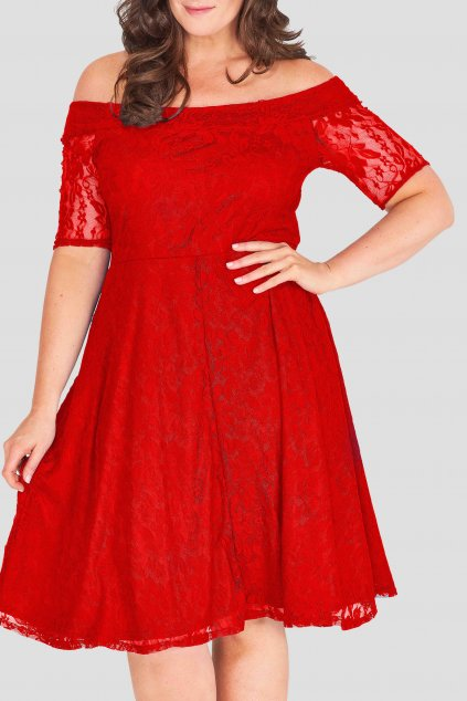 Krajkové šaty Cos s rukávem červené 2