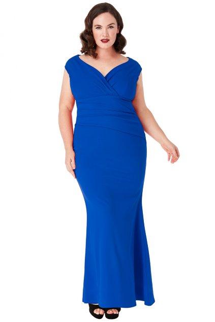 Dlouhé společenské šaty Barbara královská modrá 1