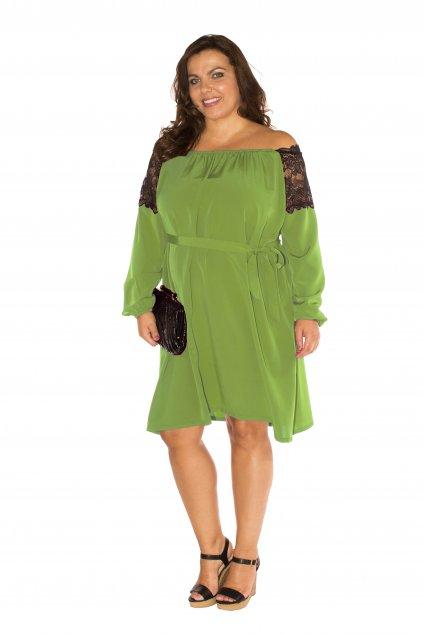 Volné šaty Tora s odhalenými rameny zelené 1