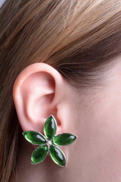 Náušnice Lotus green flower 2