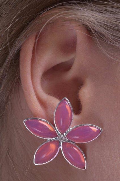Náušnice Lotus pink flower 2