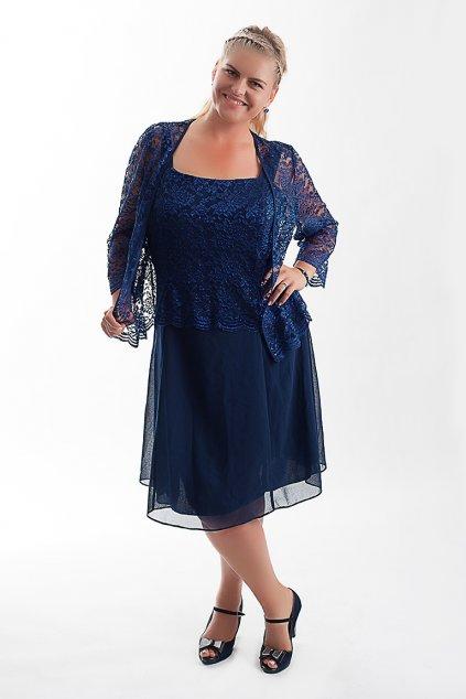 Krásné tmavěmodré šaty Timeless s krajkovým bolérkem 10