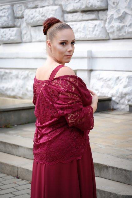 Krásné vínové šaty Timeless s krajkovým bolérkem 1