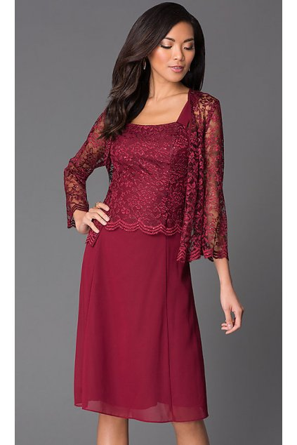 Krásné vínové šaty Timelss s krajkovým bolérkem 1